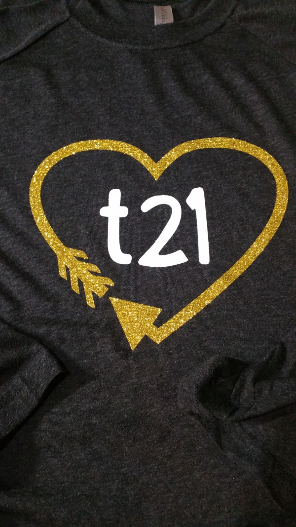 Glitter Downs Syndrome Baseball Tee t21 Heart